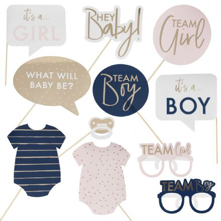 Pink, Blue & Gold Baby Grow Baby Shower Party Photo Booth Props